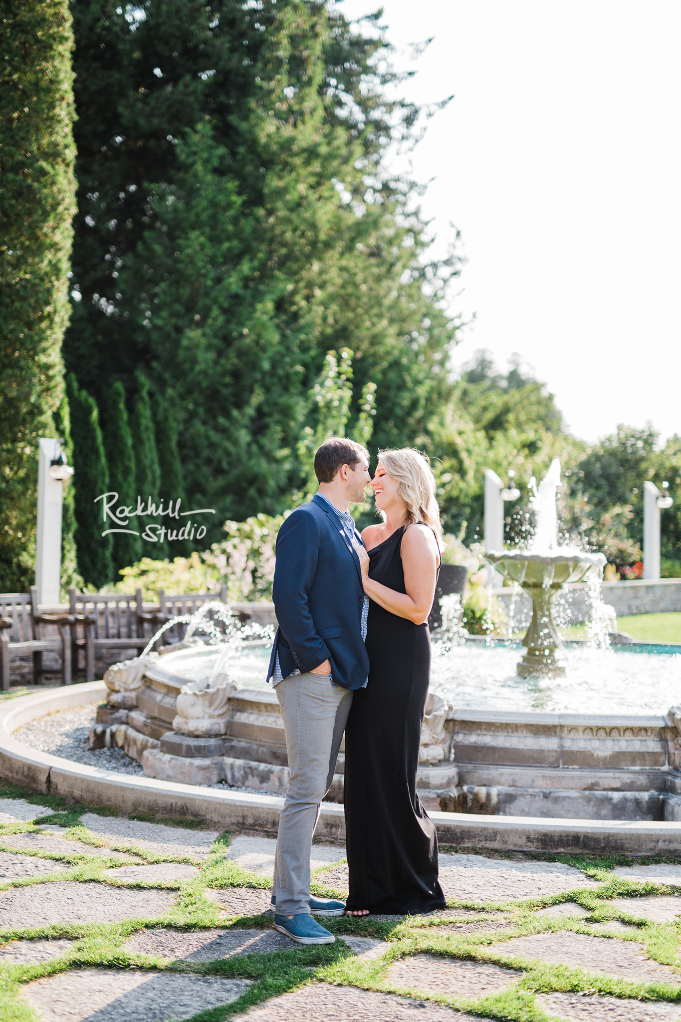Mackinac Island Engagement, Grand Hotel fountain, Traverse City wedding photographer Rockhill Studio