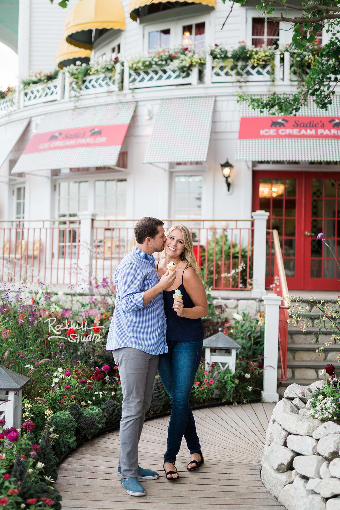 Mackinac Island Engagement, Grand Hotel Sadies Ice cream parlor, Traverse City wedding photographer Rockhill Studio