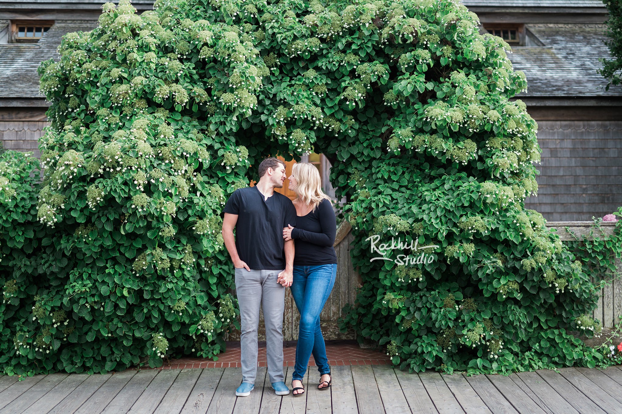 Mackinac Island Engagement, boardwalk, Traverse City wedding photographer Rockhill Studio