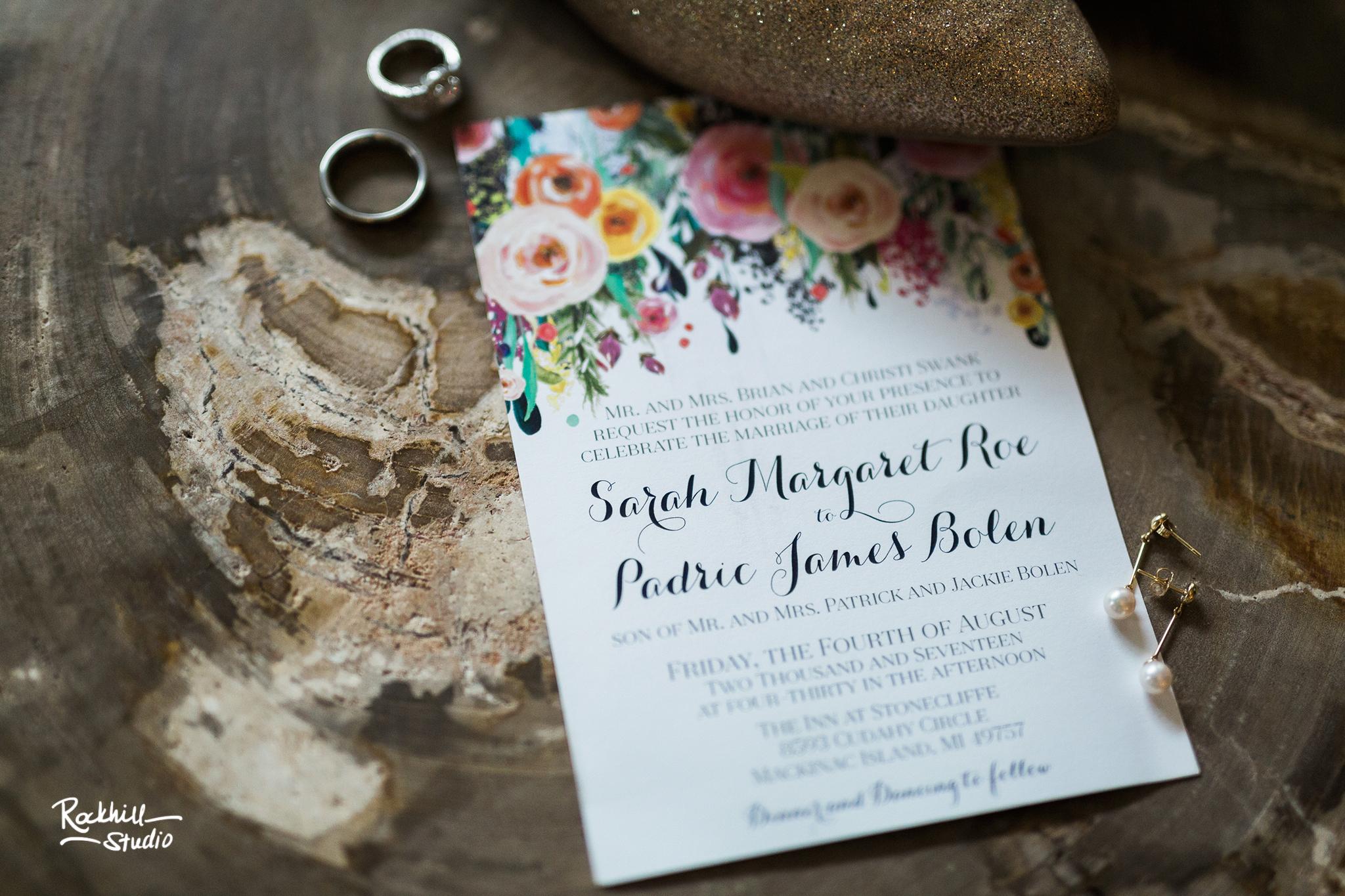 Mackinac Island Wedding Invitation, Traverse City Wedding Photographer Rockhill Studio, Inn at Stonecliffe