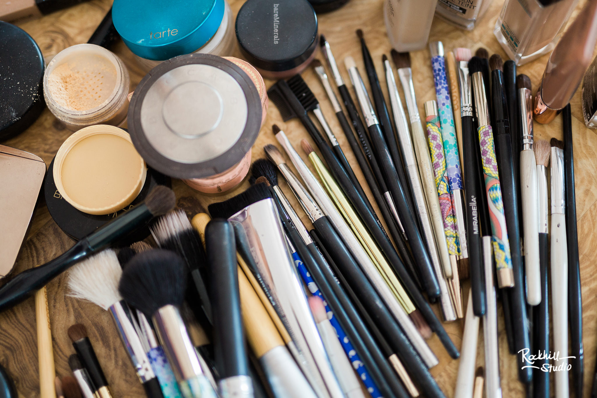 Northport Getting ready detail, makeup brushes,Traverse City wedding photographer Rockhill Studio