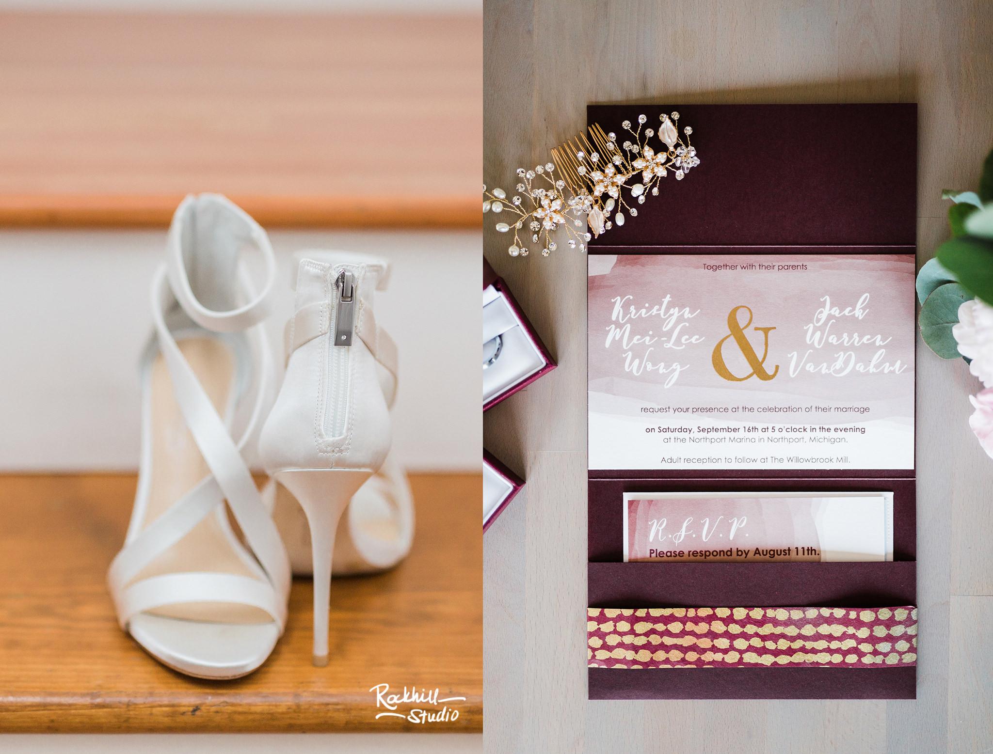Northport Getting ready detail, wedding invitation,Traverse City wedding photographer Rockhill Studio