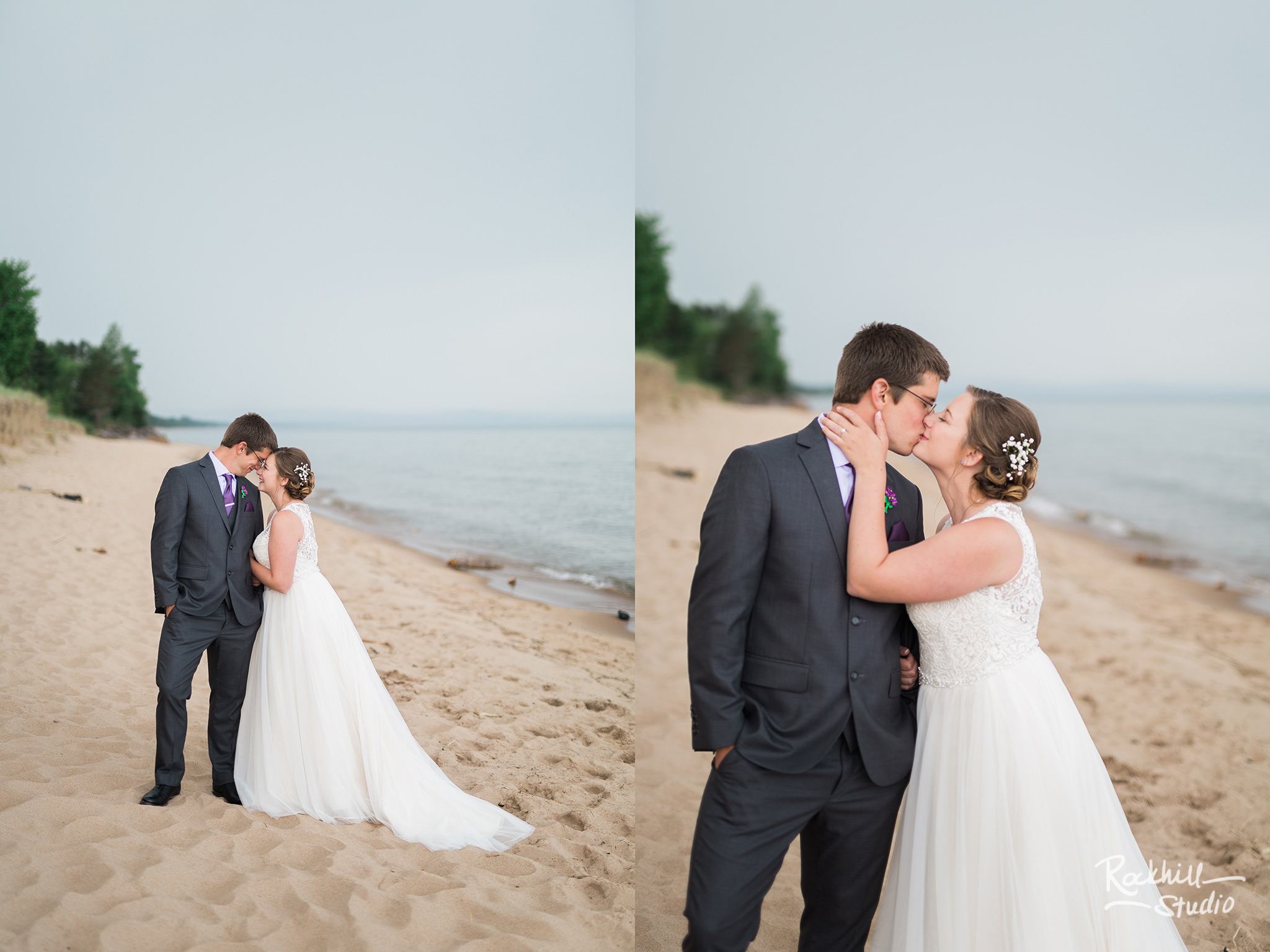 Marquette first look with bride and groom, Traverse City wedding photographer Rockhill Studio