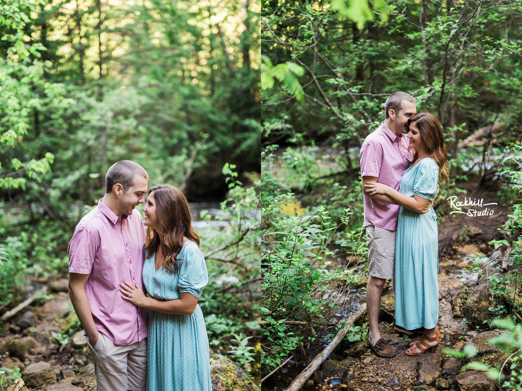 Northern michigan engagement, pictured rocks waterfall, traverse city wedding photographer Rockhill Studio
