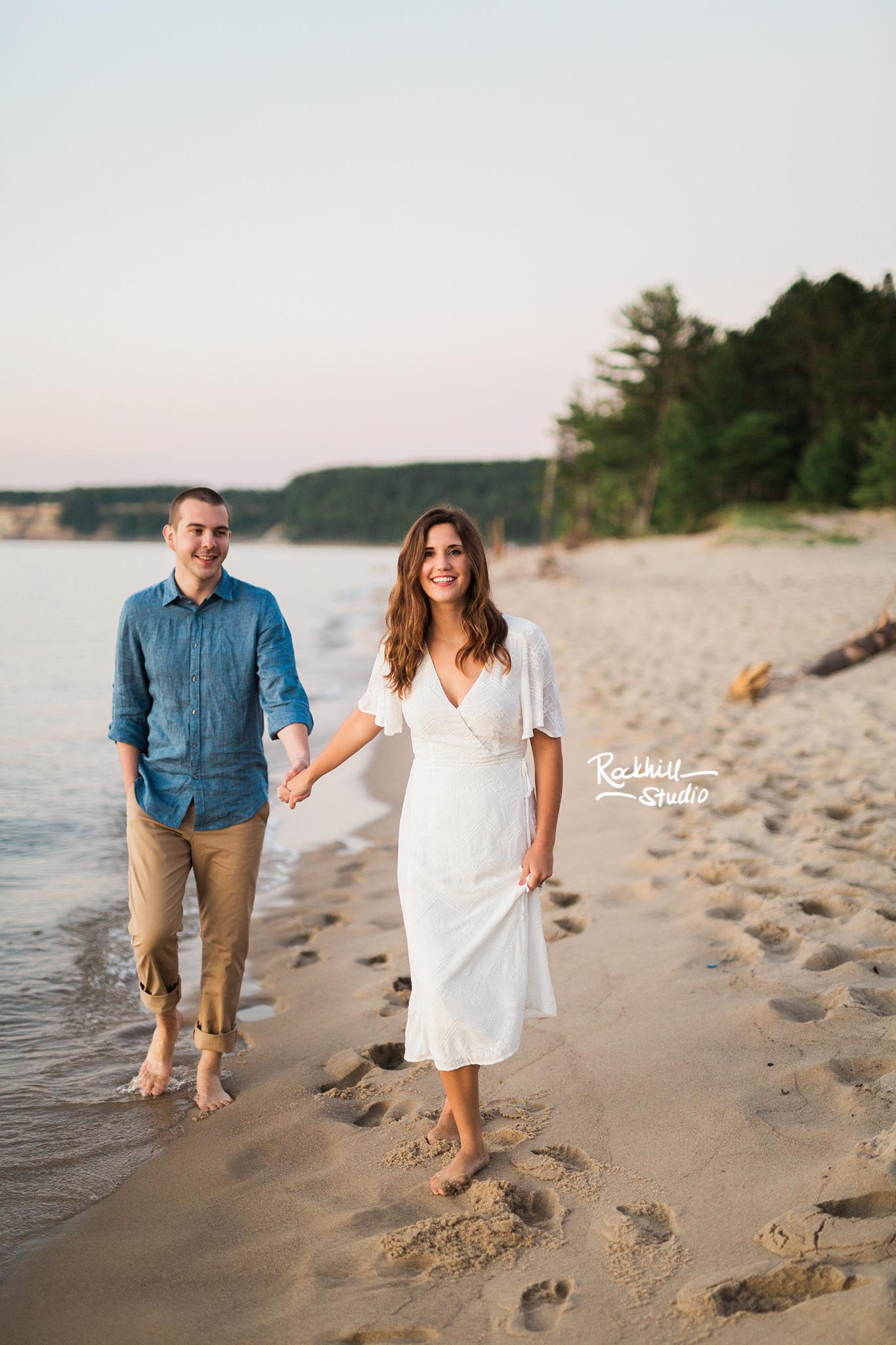 Northern Michigan engagement, pictured rocks miners beach, traverse city wedding photographer Rockhill Studio