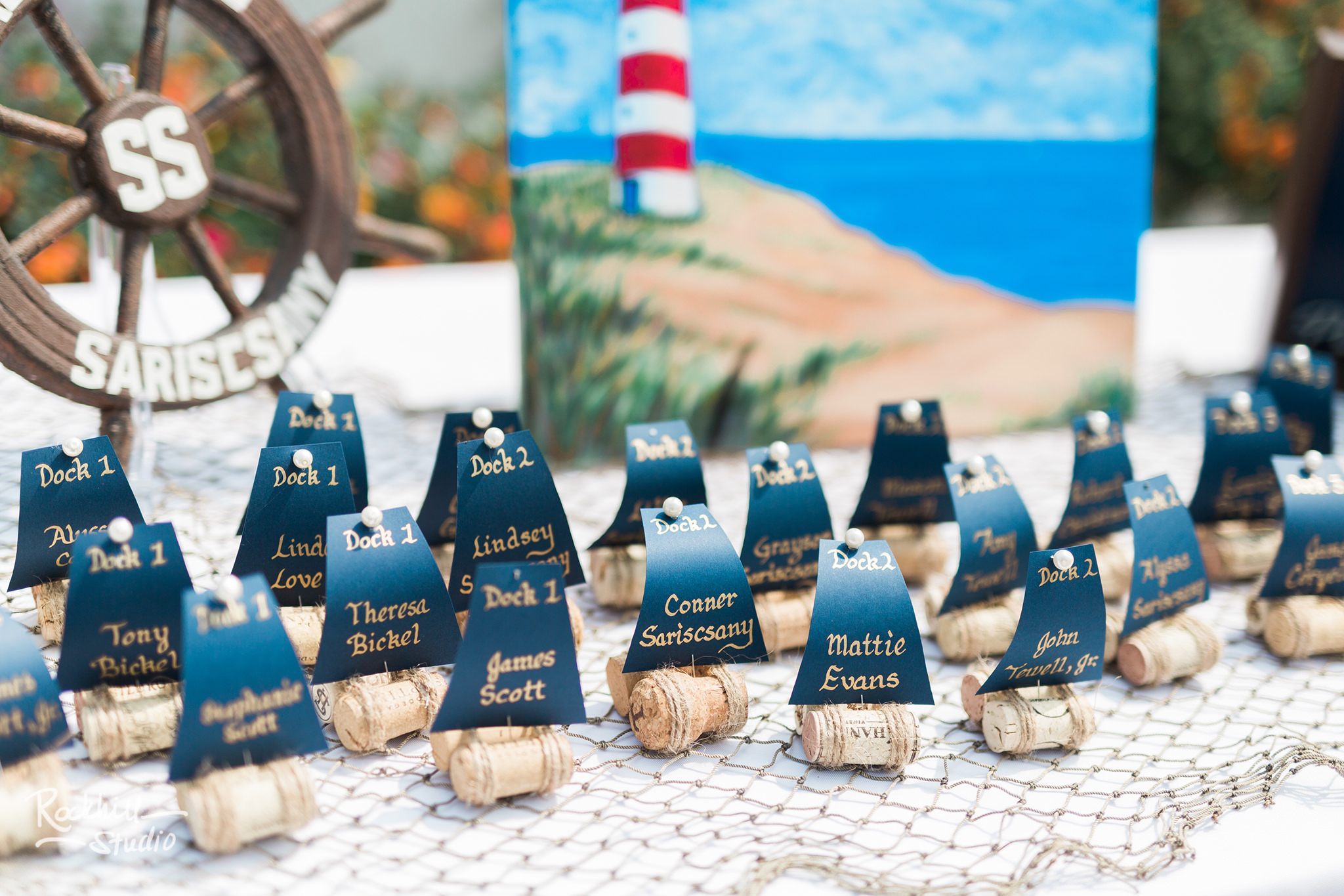 Nautical decorations at Mission point wedding, Traverse City wedding photographer Rockhill Studio