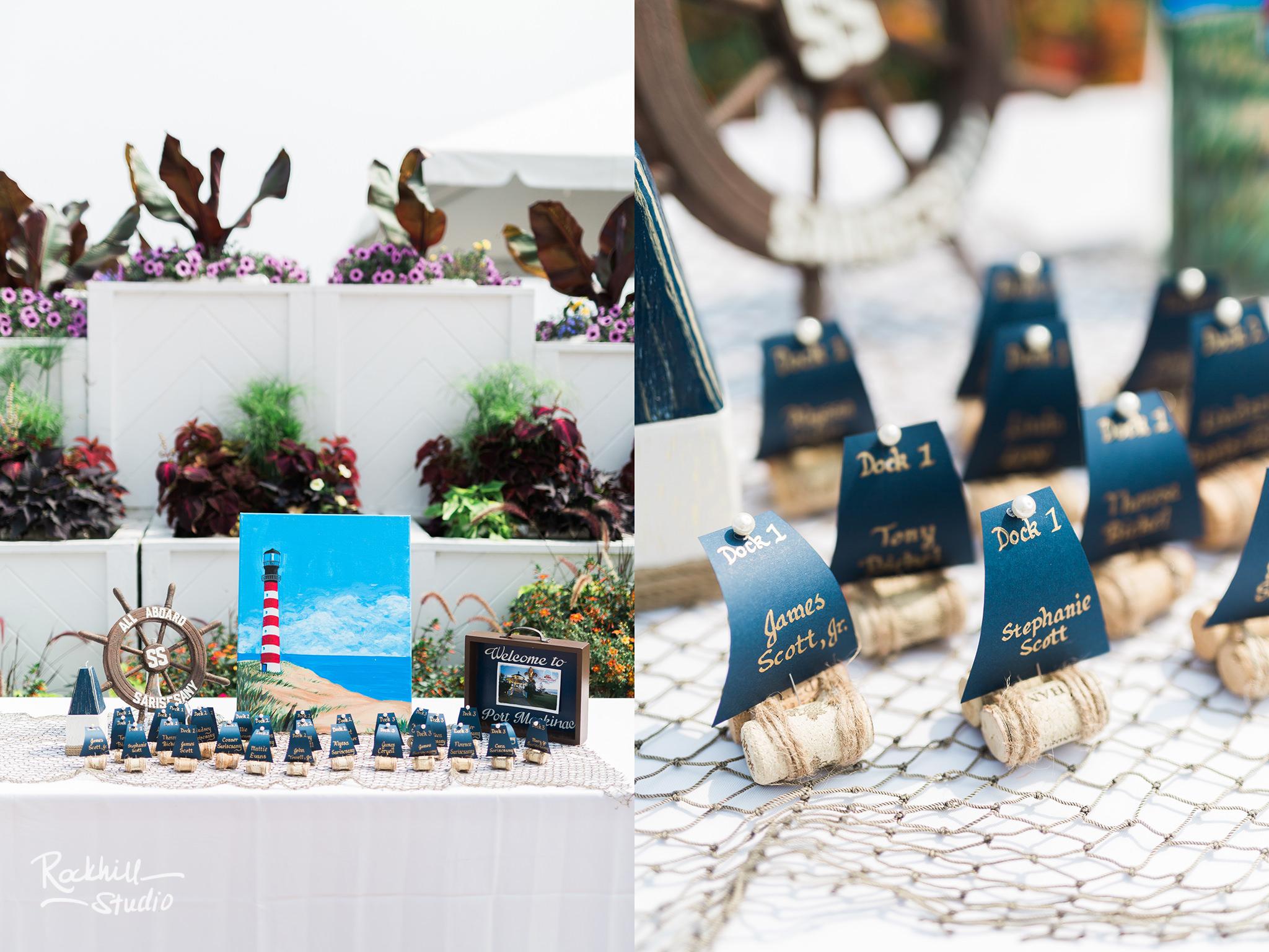 Nautical wedding decor, Mission Point Resort Wedding, Traverse City wedding photographer Rockhill Studio