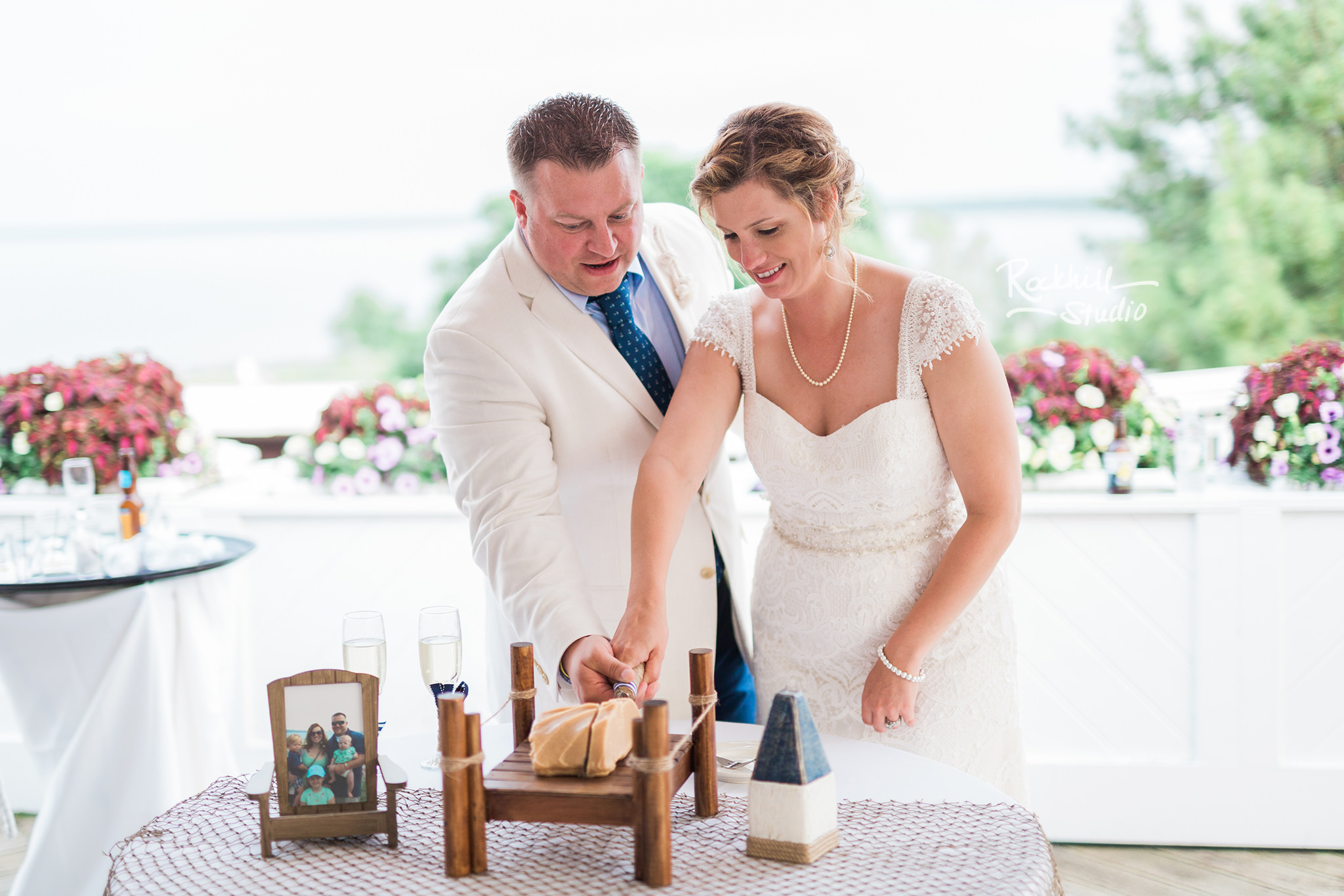 Mission Point Wedding, reception details, fudge cutting, Traverse City Wedding Photographer Rockhill Studio