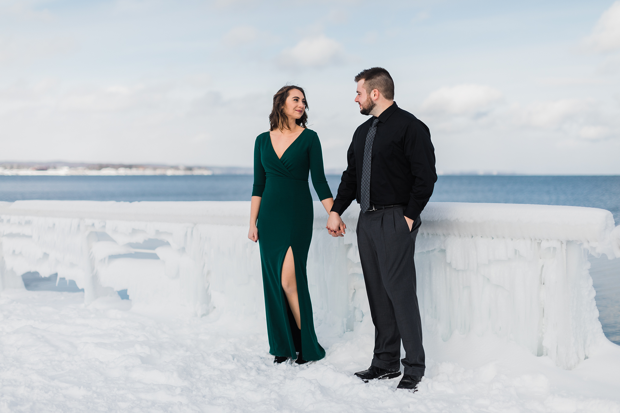 Downtown Traverse City Ice engagement session, Rockhill Studio, Michigan wedding photographer