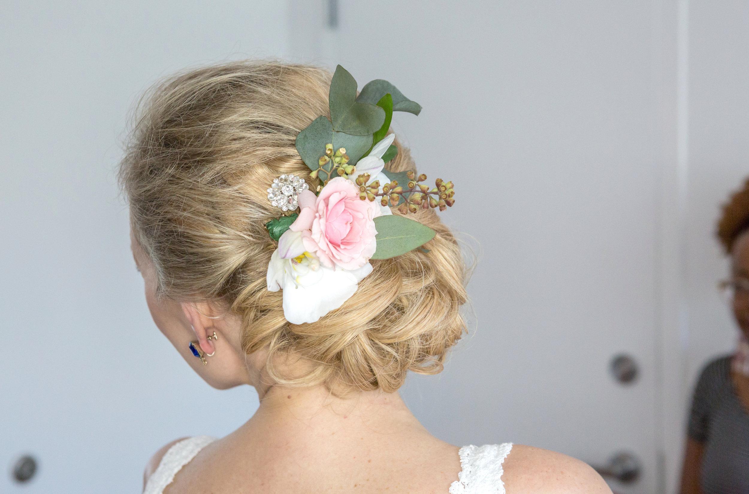 Vintage flowers for bride's hair at Key Biscayne wedding