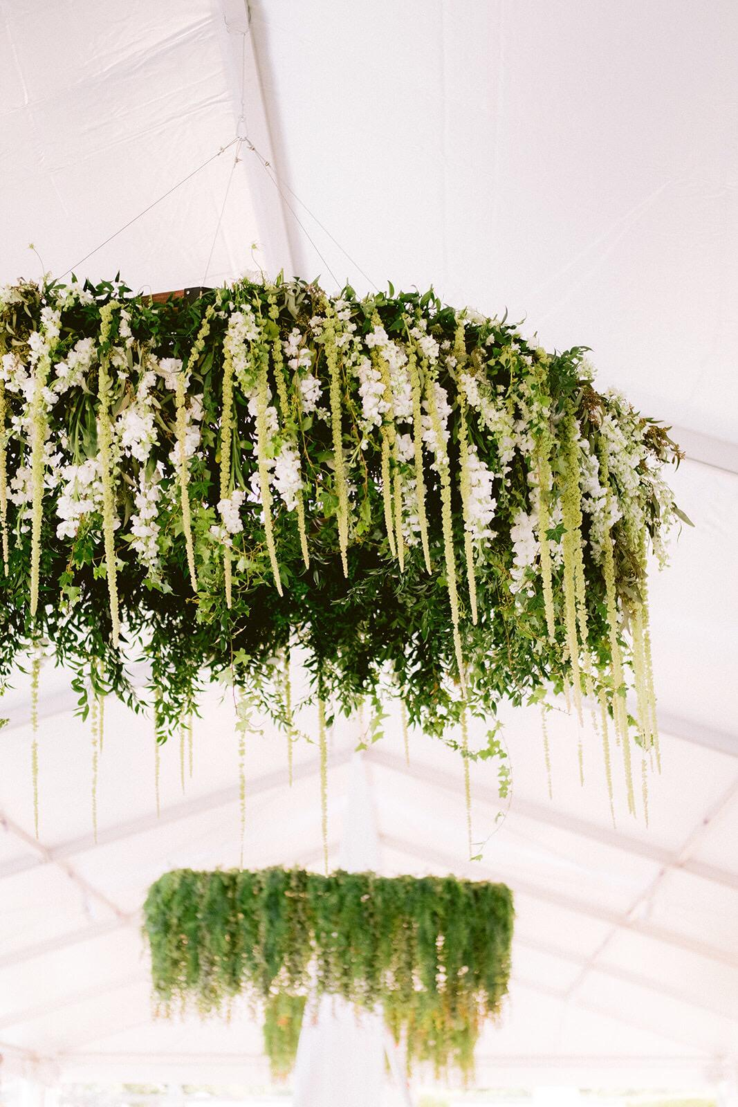 Floral chandelier with cascading wedding flowers at  Vizcaya  in Miami