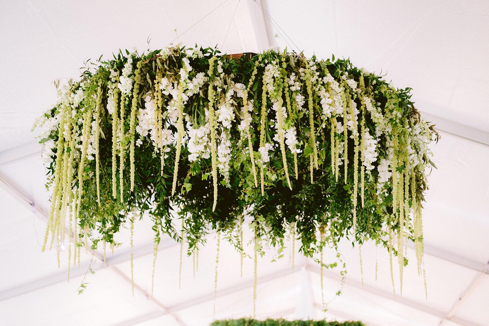 Large on-site floral installation made of wedding flowers at  Vizcaya  in Miami