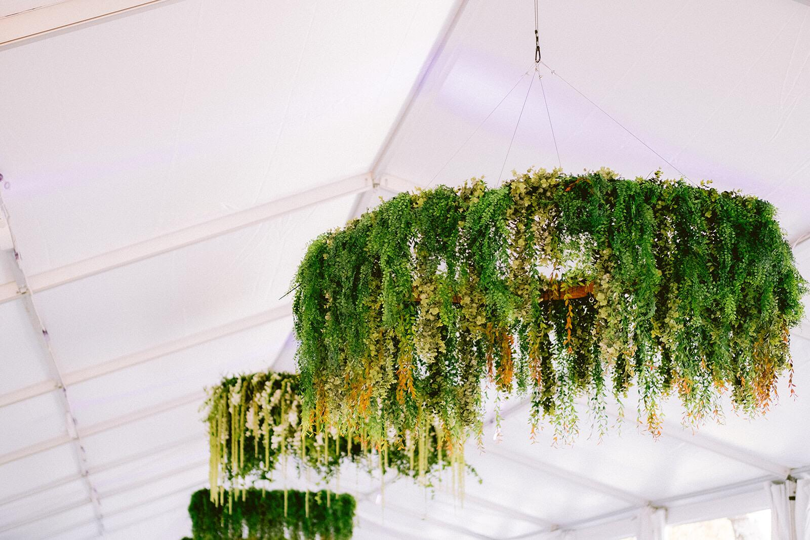 Hanging greenery installation at  Vizcaya  in Miami