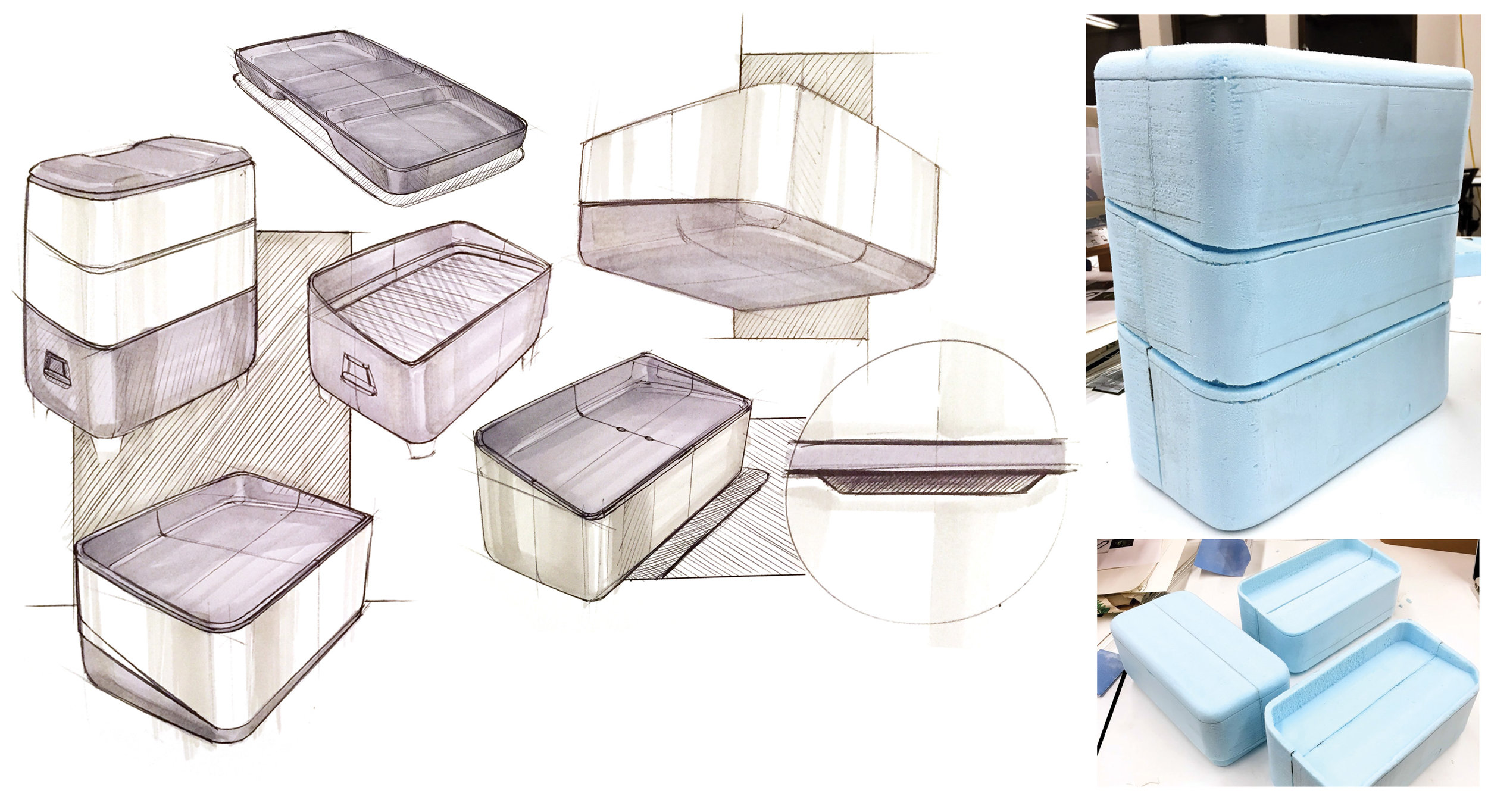 I then came up with a portable grill design to cook on site, along with two containers that stack on top that could easily fit in a backpack or tote for the everyday urban commuter.