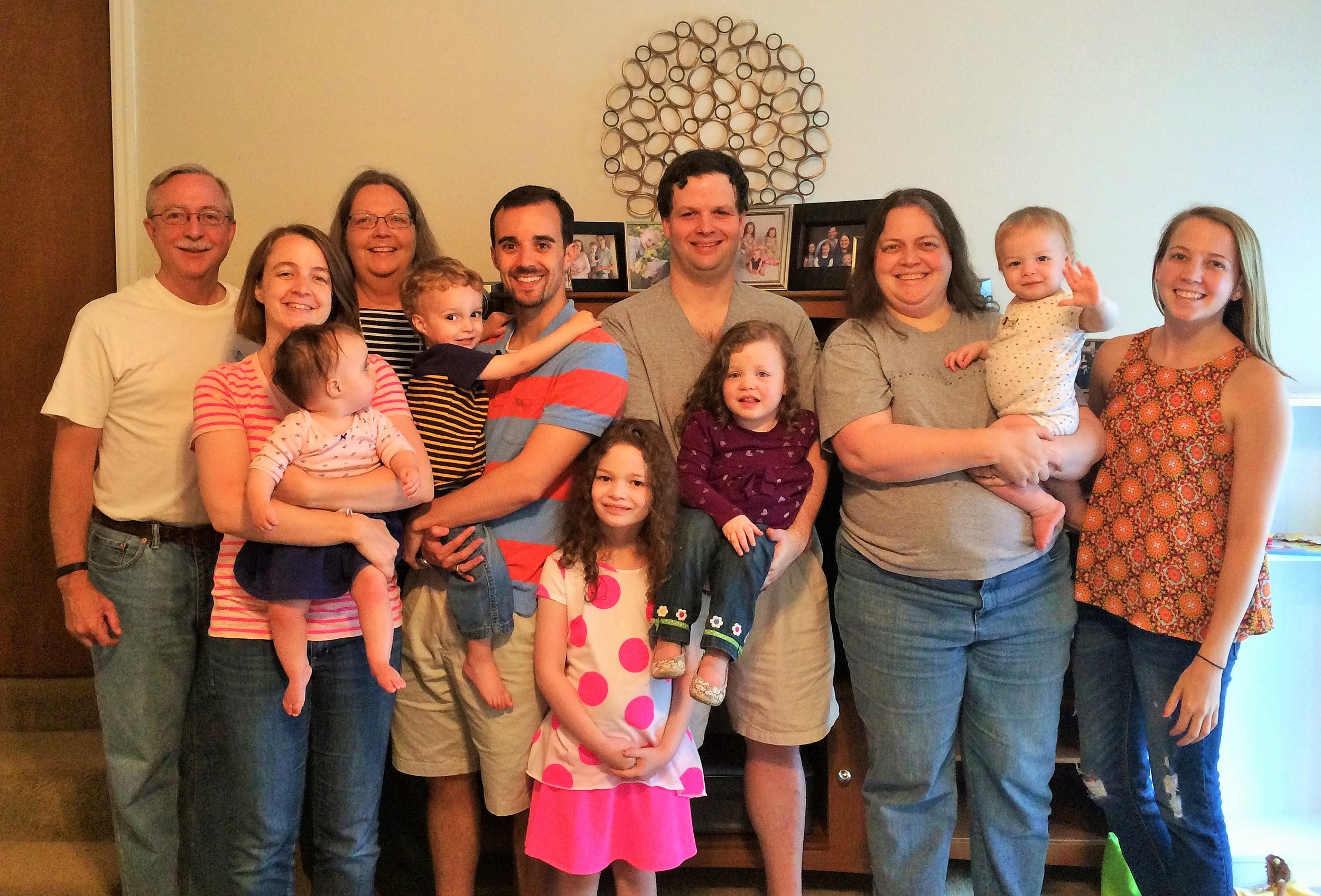 May 2015: A rare moment when Becky and Allen Saxon and all of their descendants were in the same place!