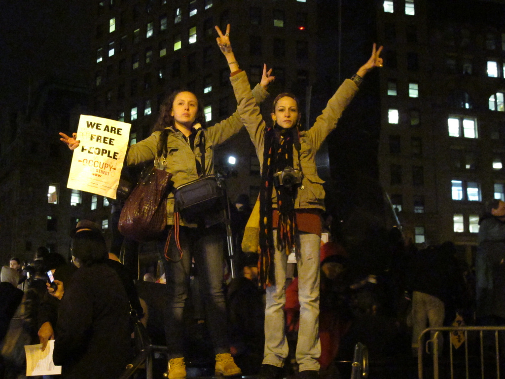 Protestors march across New York City to mark the one-year anniversary for Occupy Wall Street.