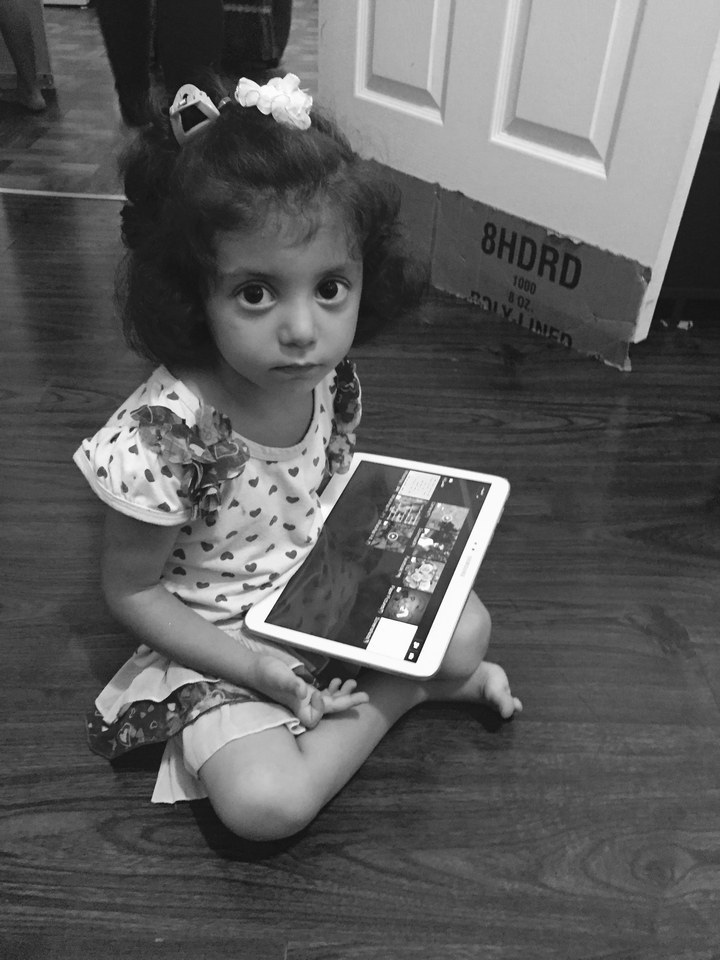 Soha's daughter Myesa, age 3, playing with a tablet.   Purvi Thacker/ BuzzFeed News
