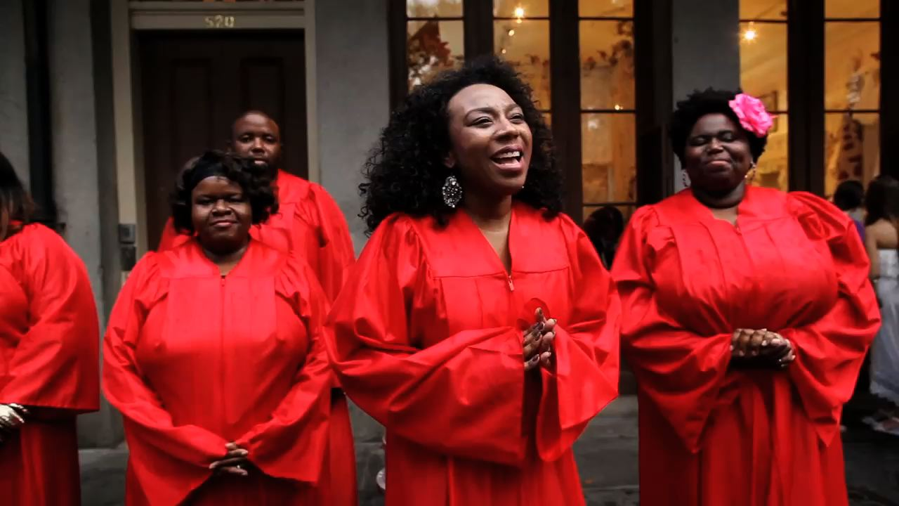 A Gospel choir surprise serenaded the guests upon exiting the ceremony!