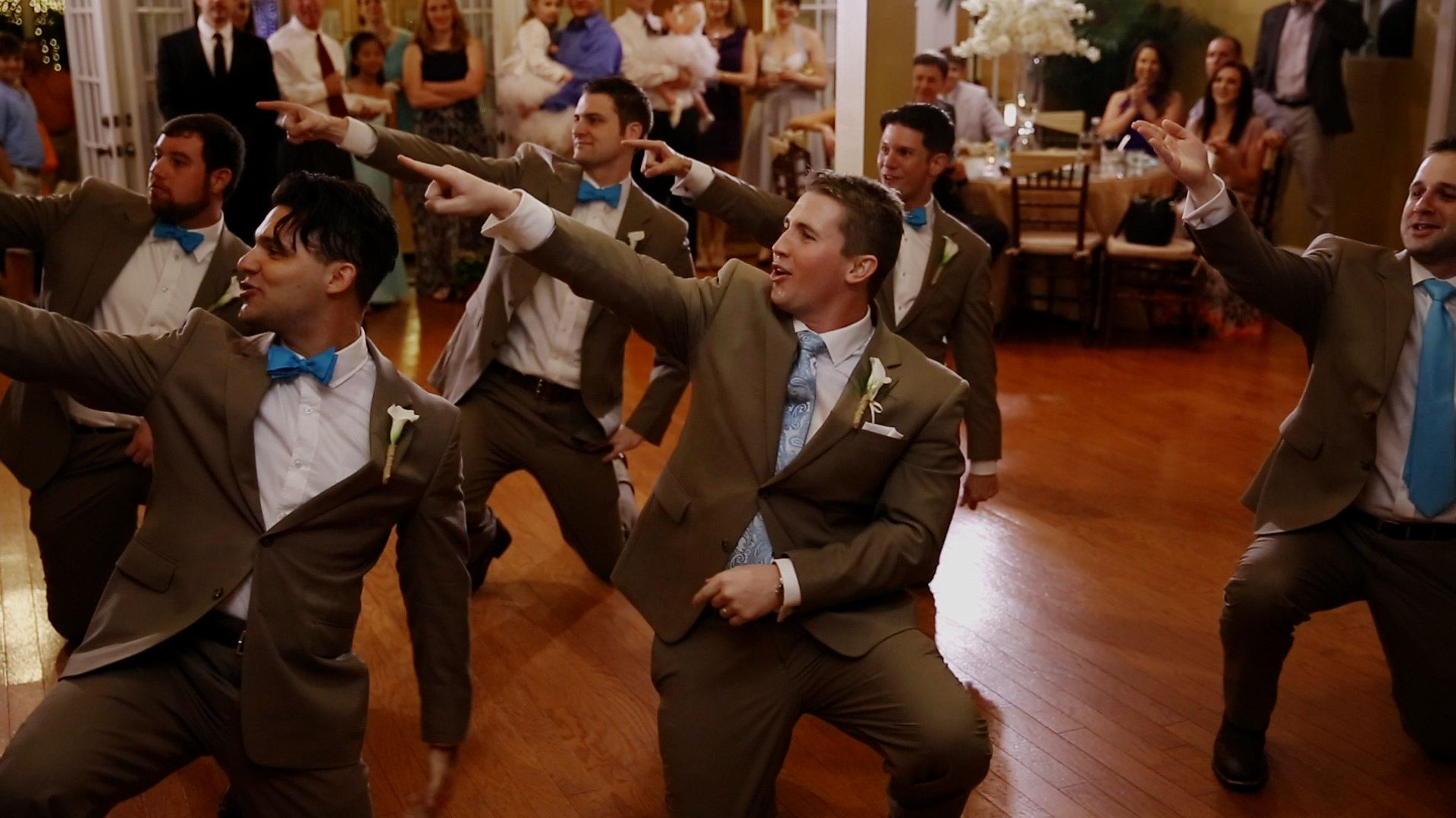 The entire bridal party memorized a hilarious choreographed dance!