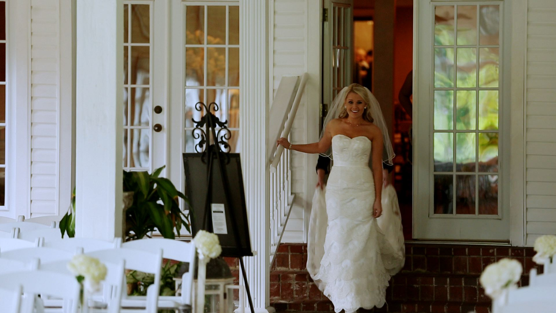 ...excited to see her handsome groom.
