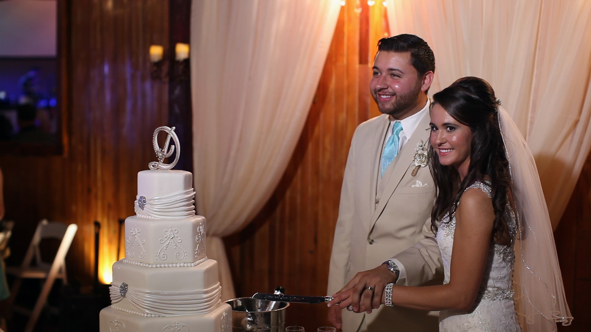 We loved the newlyweds' personalized cake.