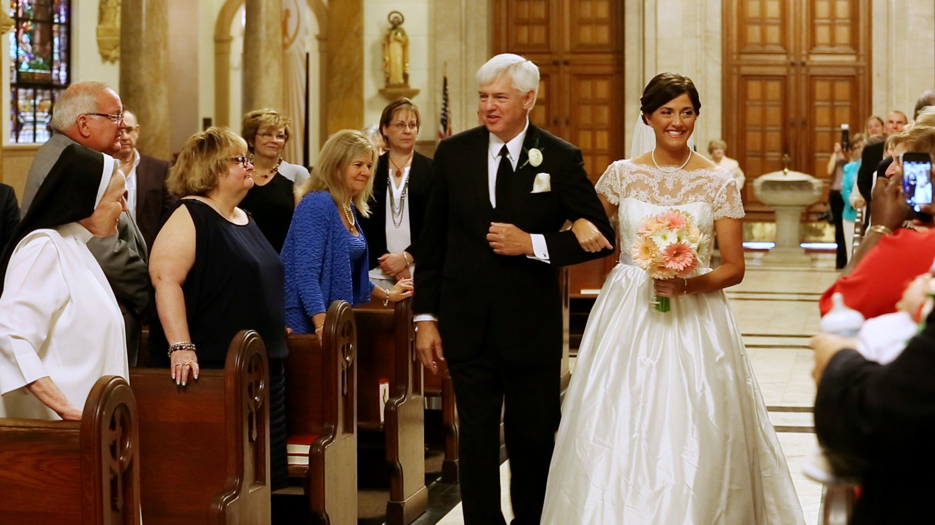 Nothing but smiles as Beth walks down the aisle!