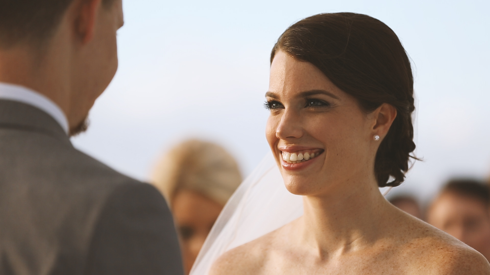 Mary Alice all smiles during Adam's vows.