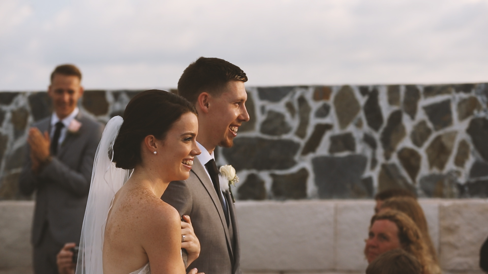 Sweet excited smiles as the new Mr. and Mrs. Thornhill!!