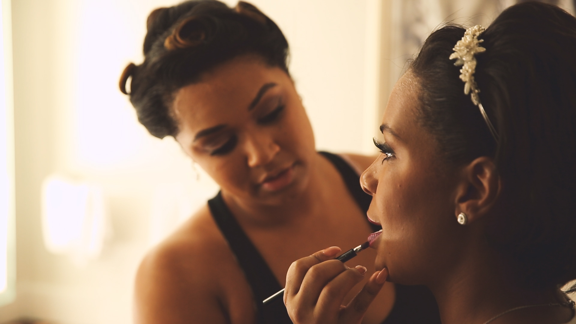 The bride and her bridesmaids' makeup was perfect!