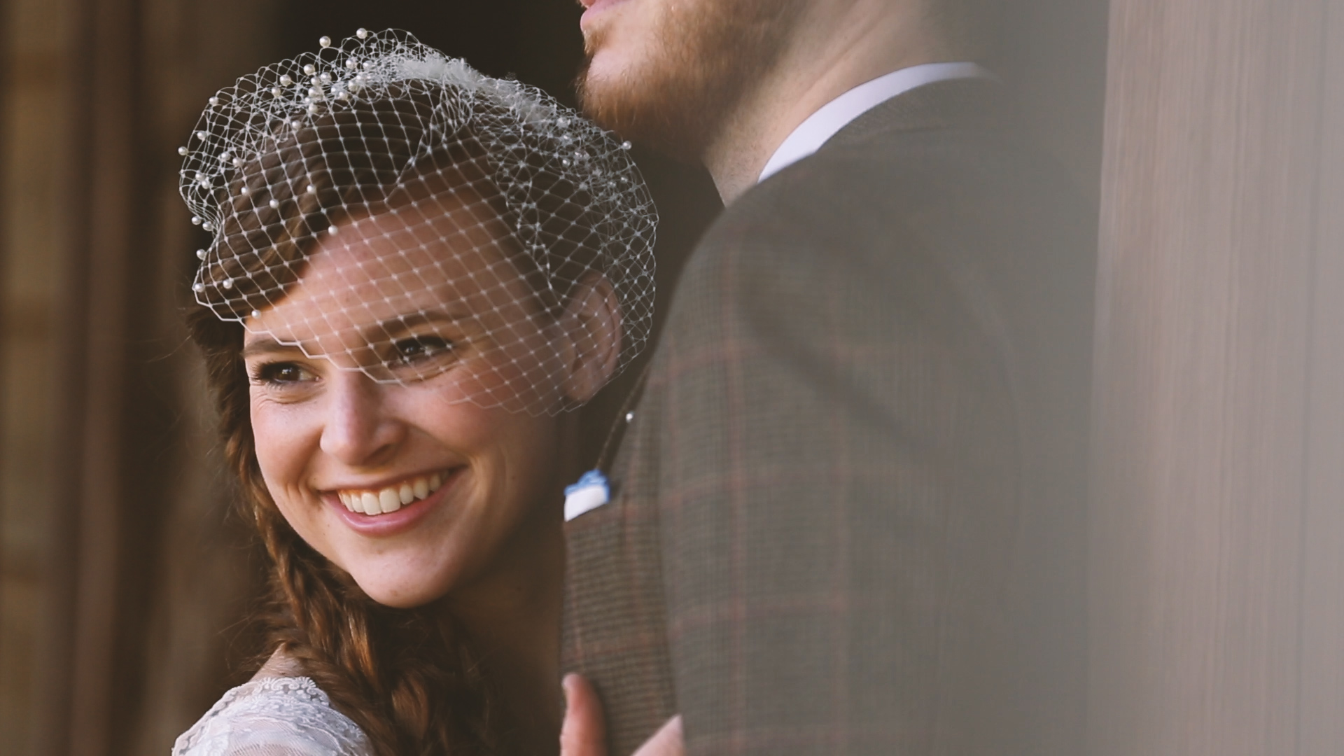 Rachel's birdcage veil was the perfect accent to her beautiful braided hair.