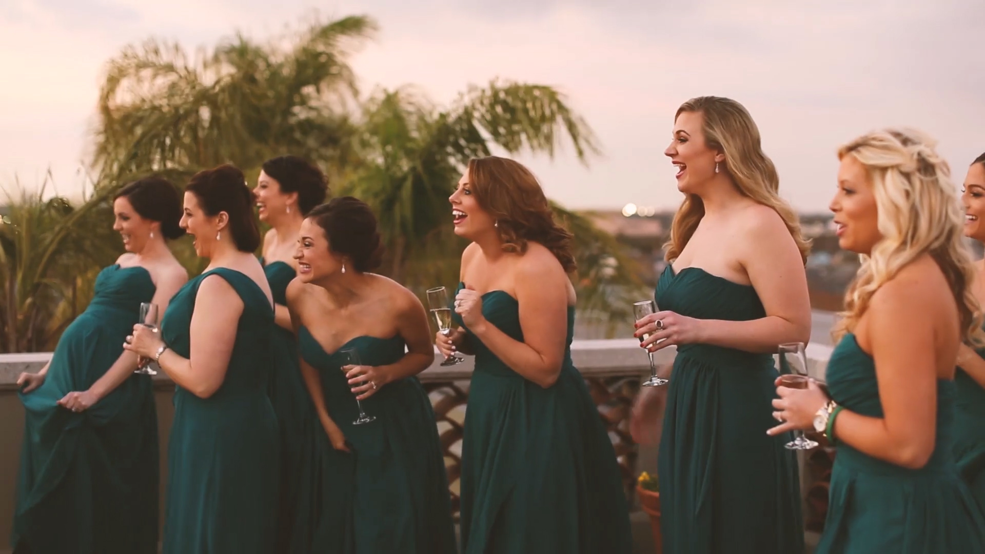 Rachel's bridesmaids were blown away when they saw her in her gown for the first time.