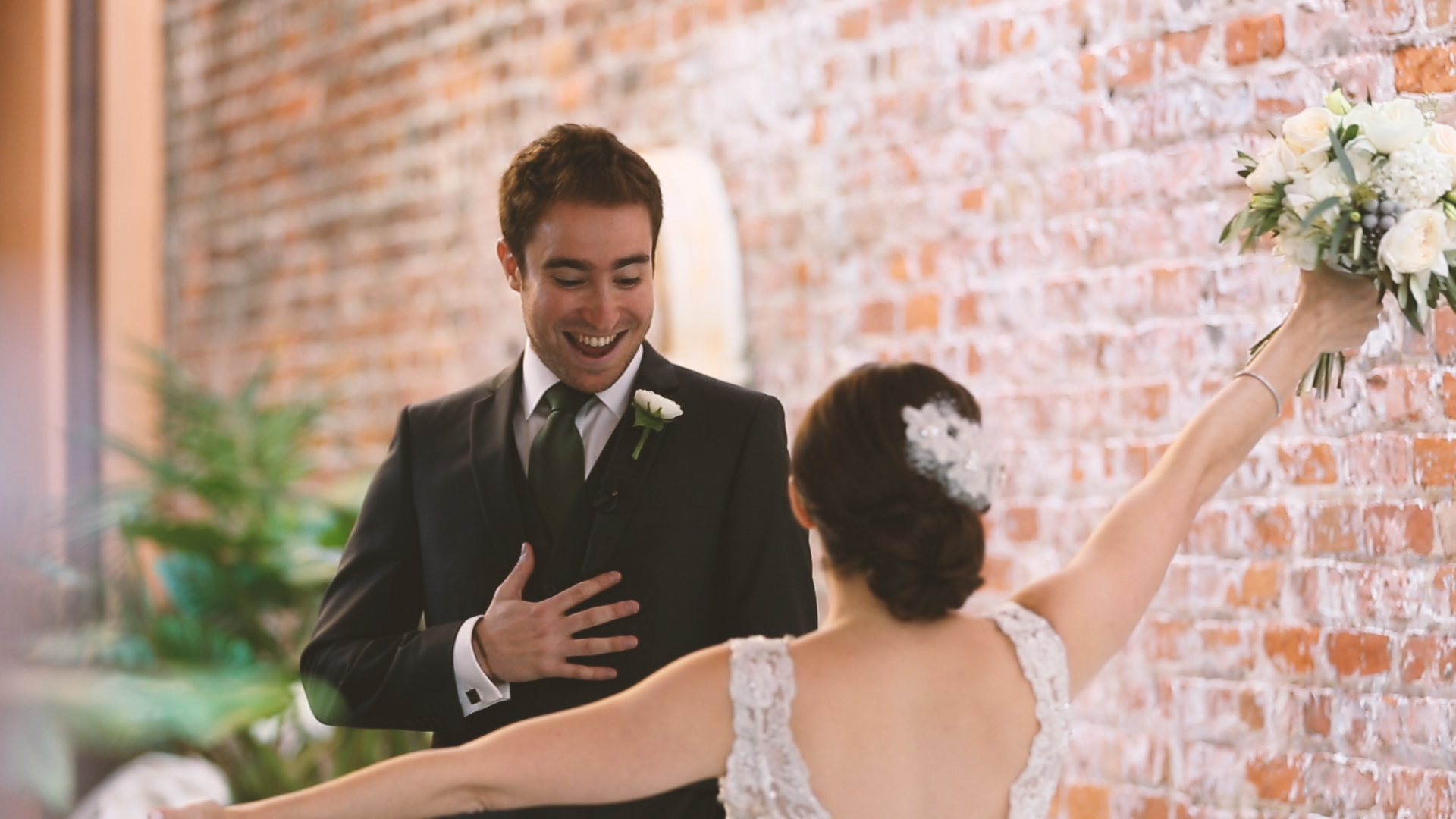 We love the groom's face the first time he sees his future wife in her wedding dress!