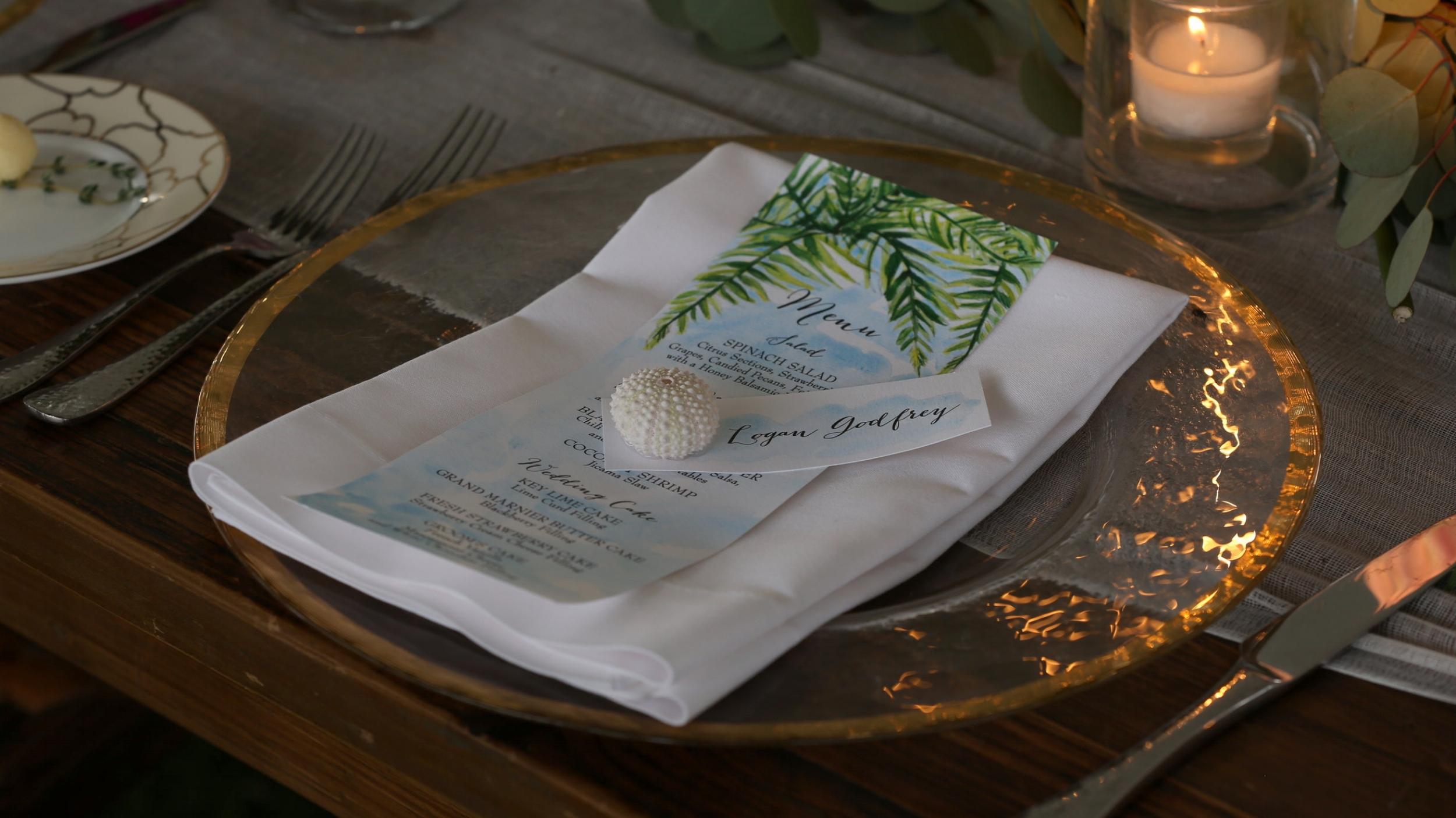 Momental Designs Dinner Menu - Bride Film