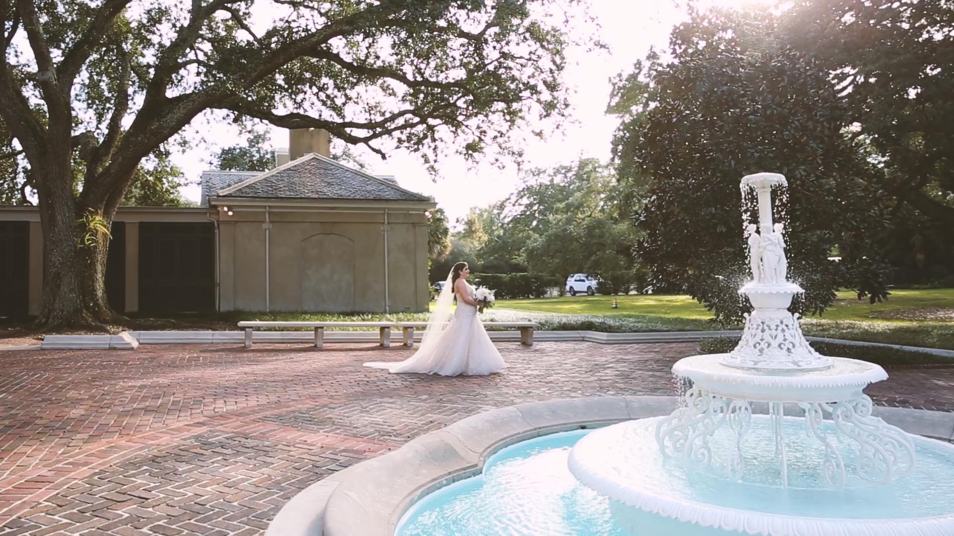 Longue Vue Garden Wedding Videographers New Orelans Fountain - Bride Film