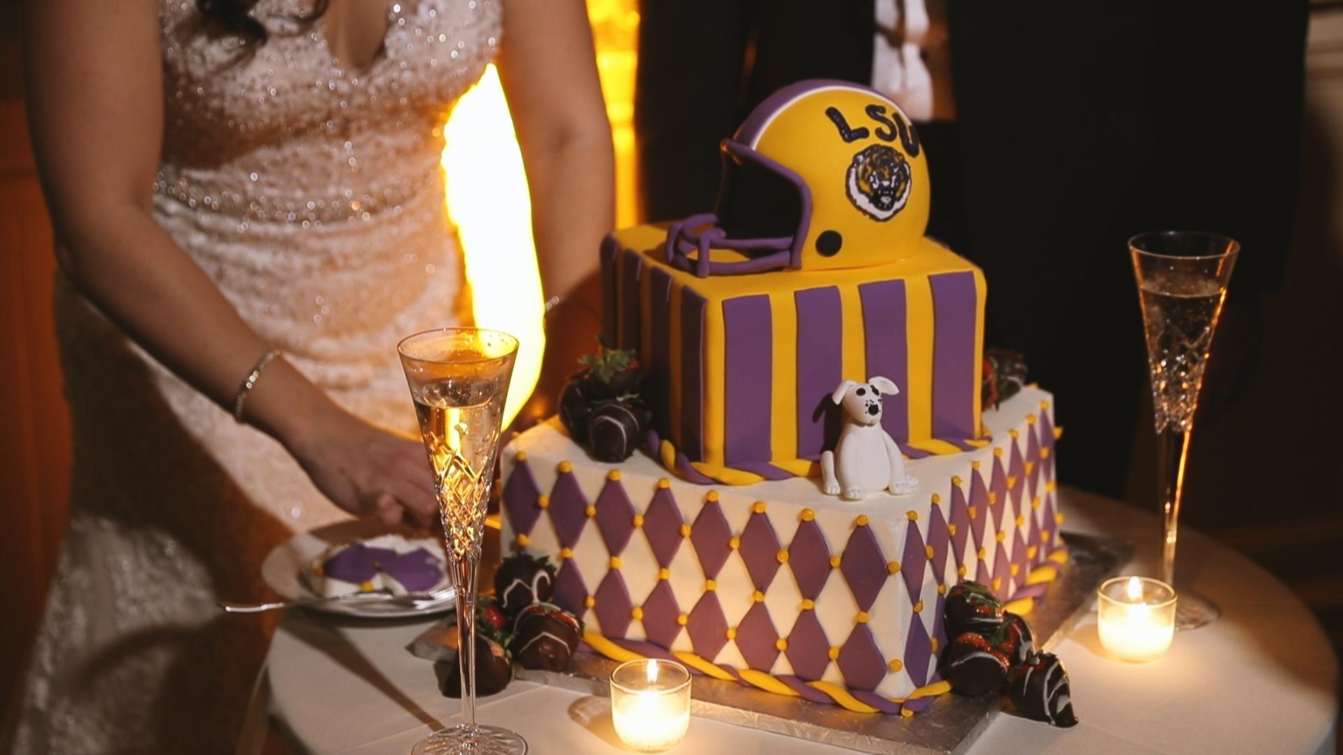 Gabby and Patrick_Groom LSU cake detail