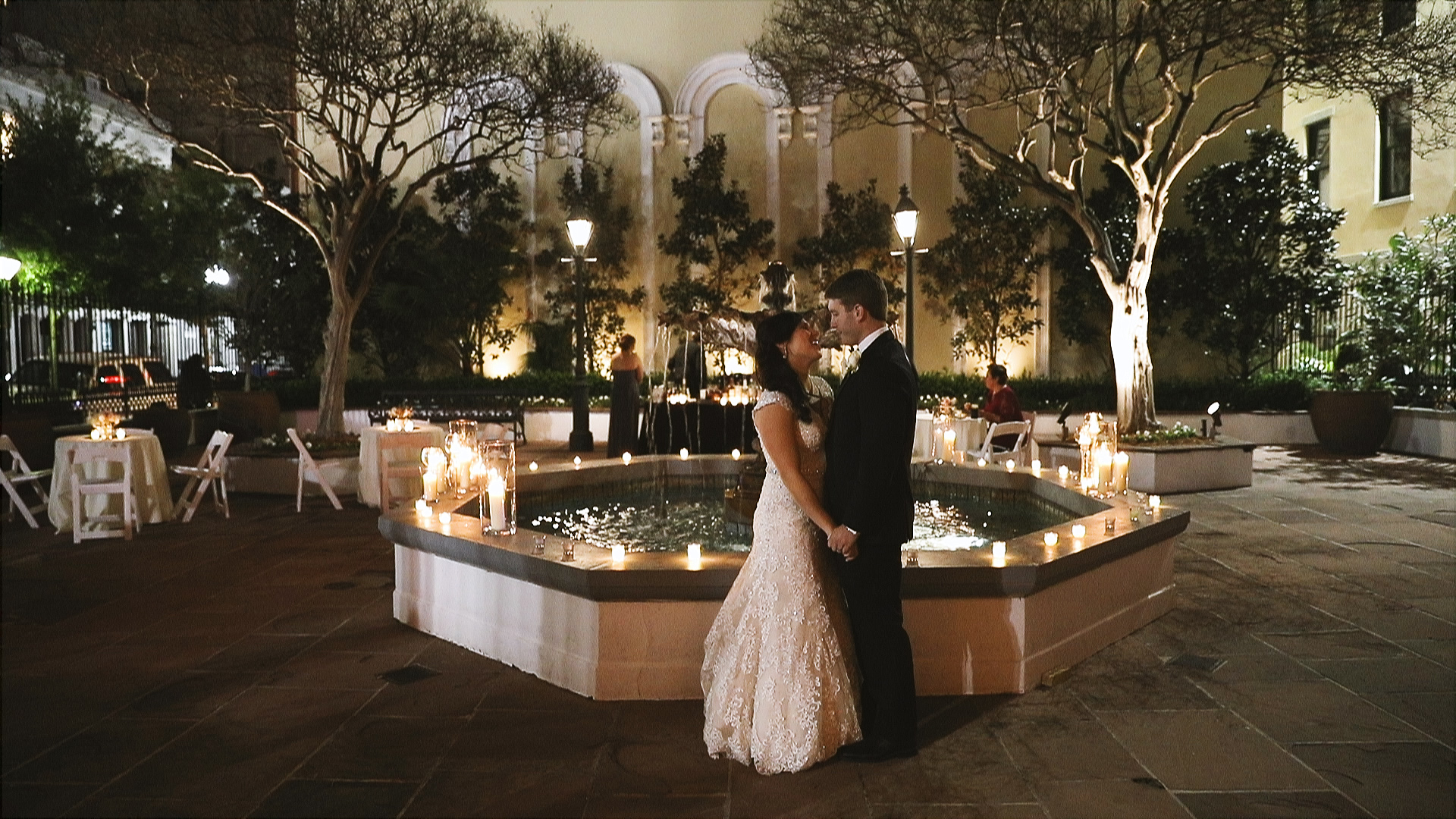 Gabby and Patrick_Board of New Orleans fountain wedding