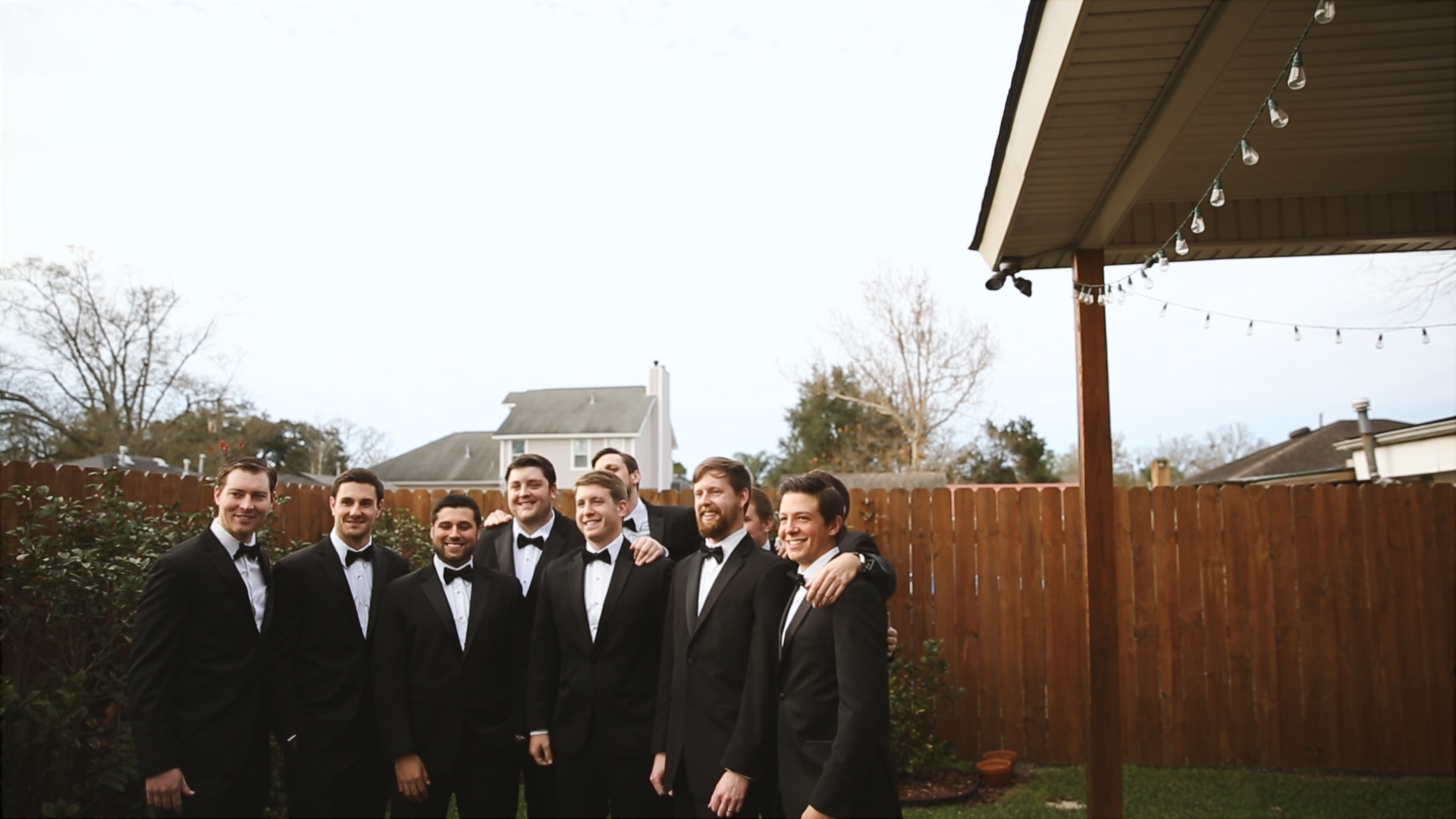 Gabby and Patrick_Groom with groomsmen outside