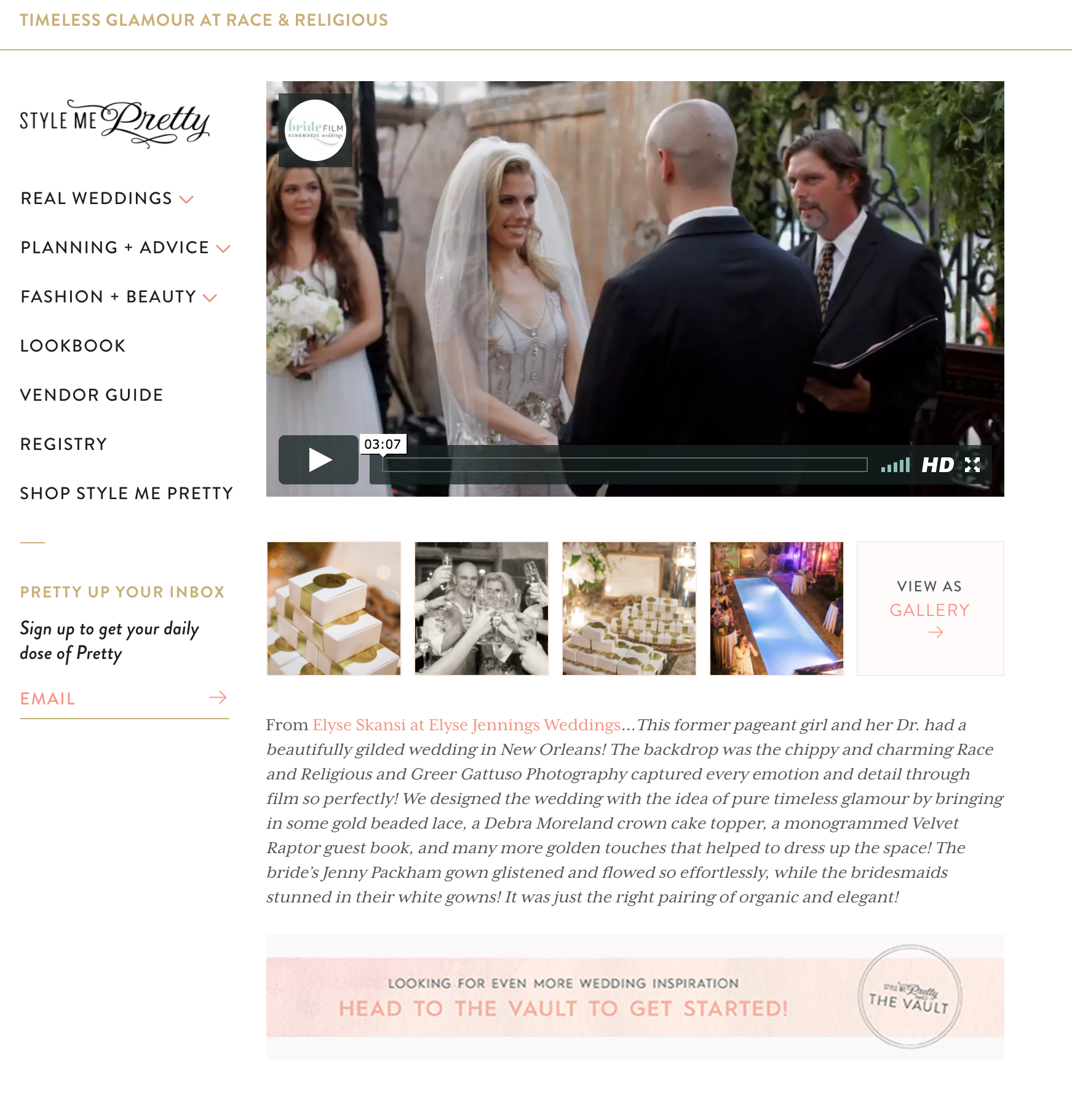 Timeless Glamour Style Me Pretty Featured New Orleans Wedding