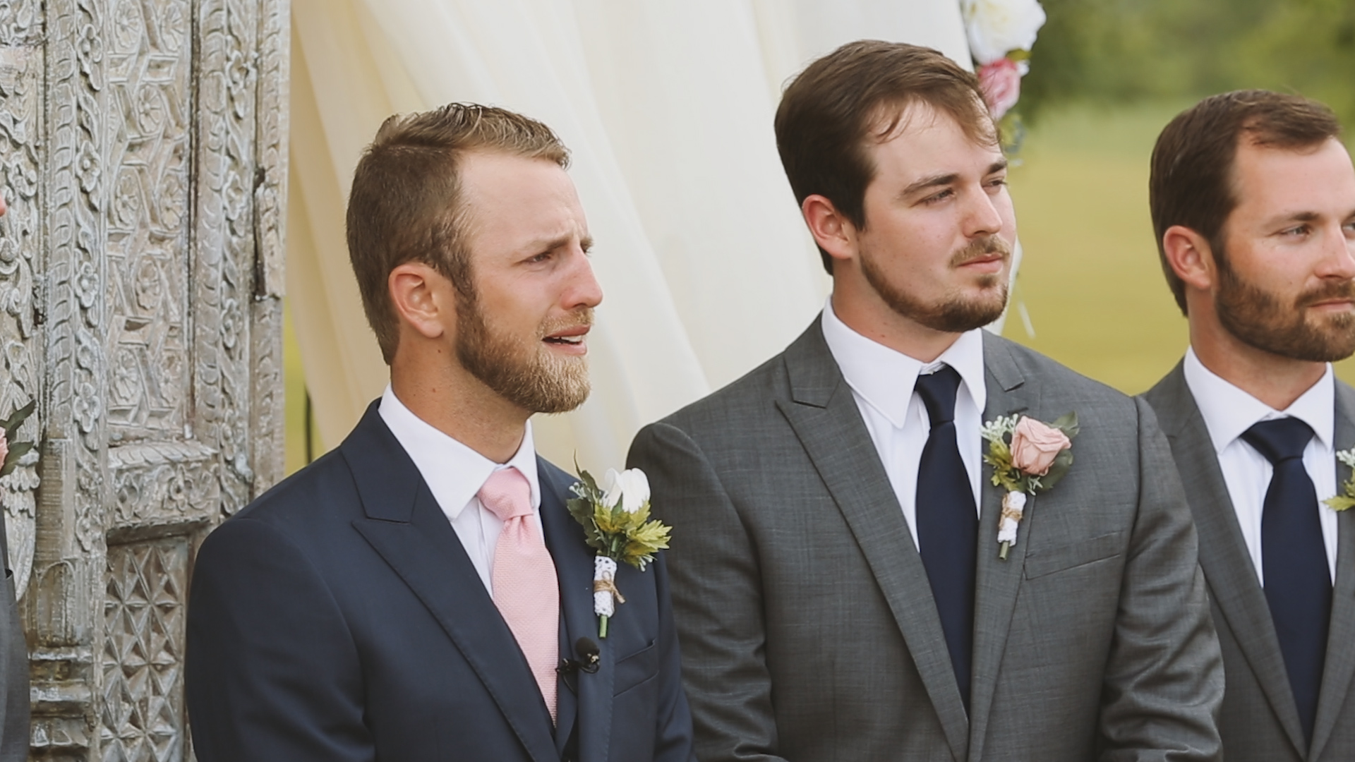 Amanda and Hayden_The White Magnolia Farm Weddings_New Orleans videographer_Wedding groom reaction
