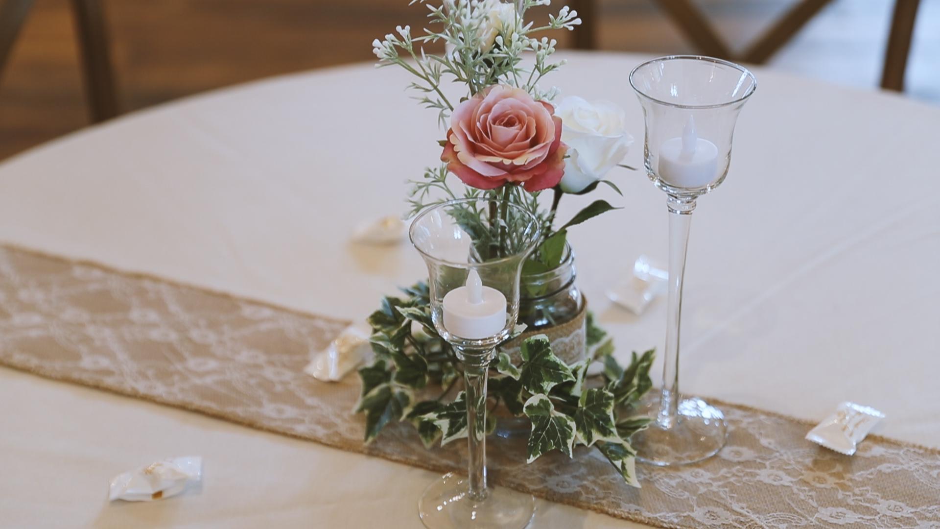 Amanda and Hayden_The White Magnolia Farm Weddings_New Orleans videographer_wedding centerpiece idea