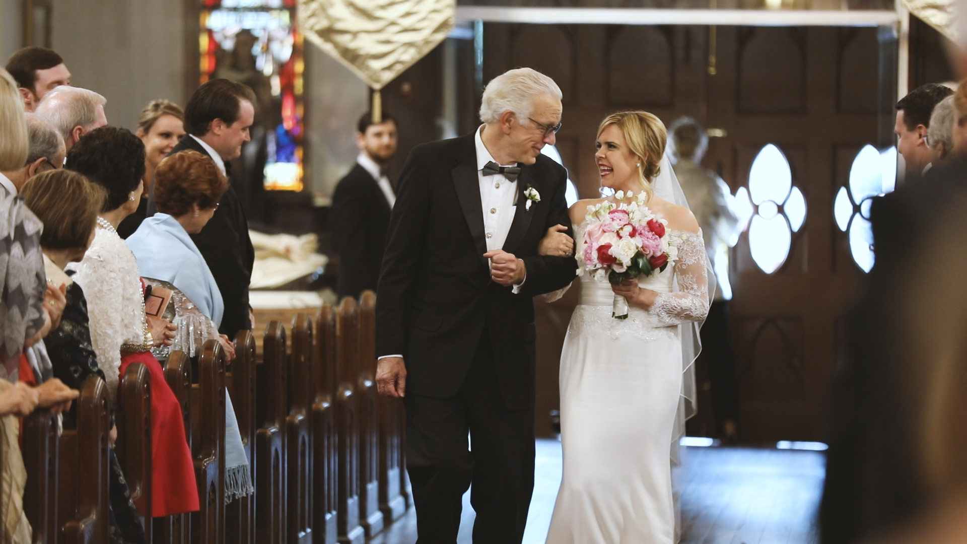 Colleen and Charles_Urban Contemporary Arts Center Wedding_New Orleans videographer_Bride walking down aisle