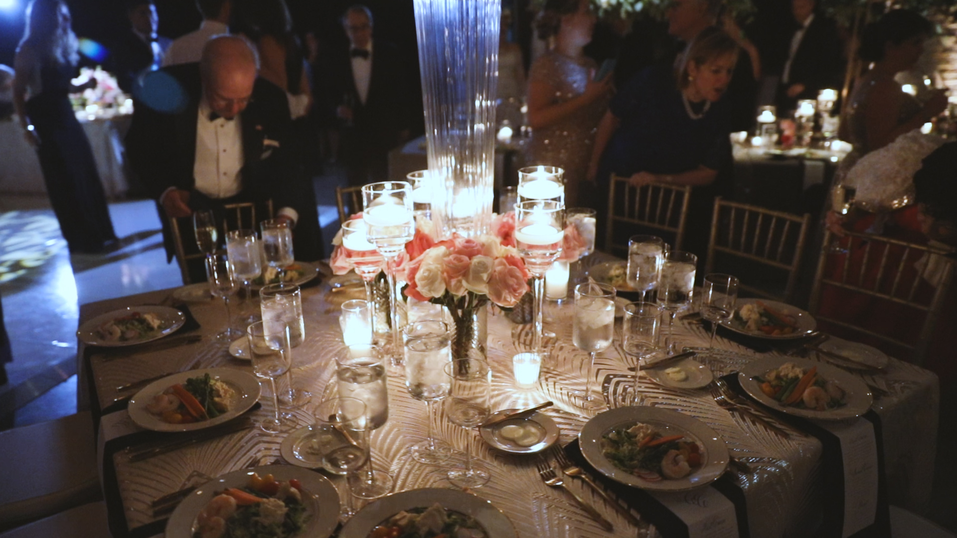 Colleen and Charles_Urban Contemporary Arts Center Wedding_New Orleans videographer_Wedding reception table detail