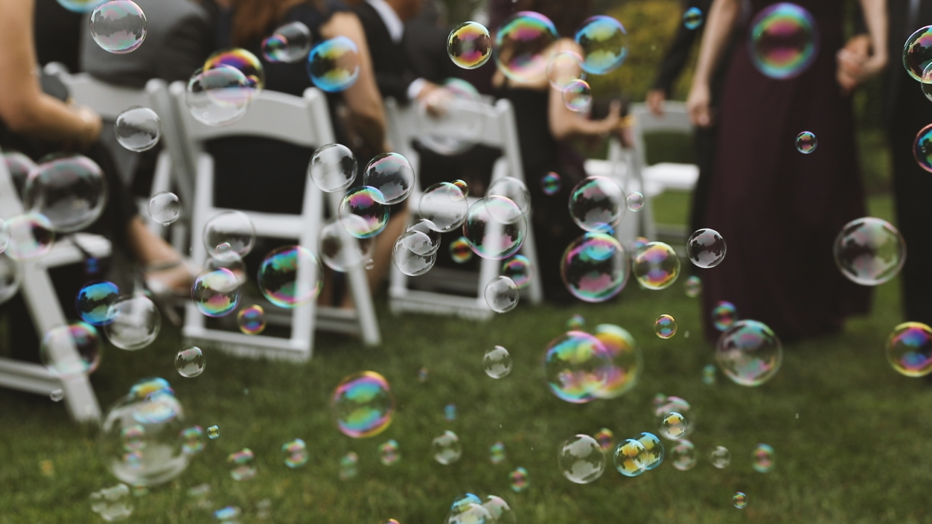 Newport Rhode Island Wedding - Bride Film - wedding ceremony bubbles