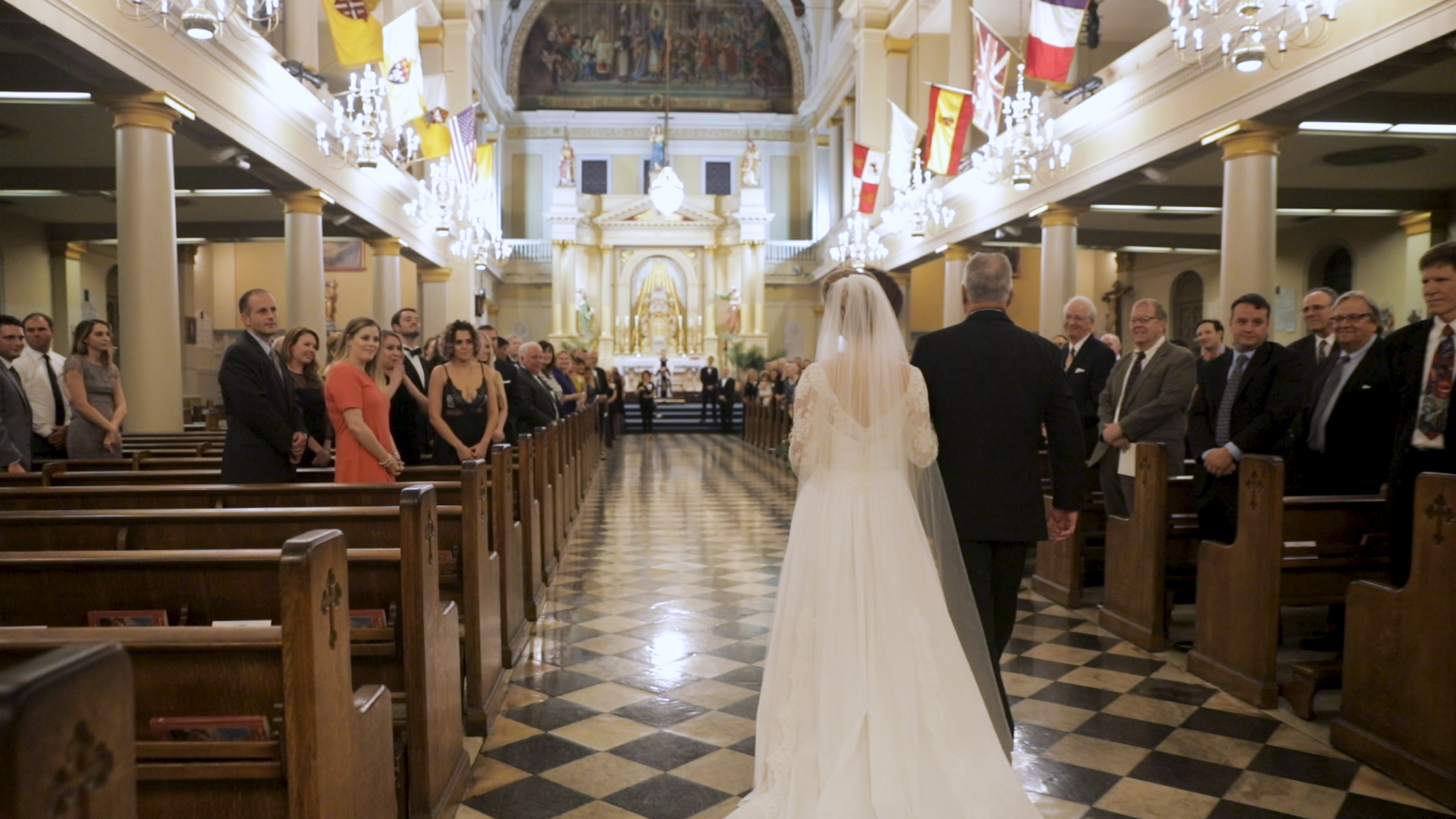New Orleans Wedding Videography_Marianne and Clark_St Louis Cathedral Wedding aisle