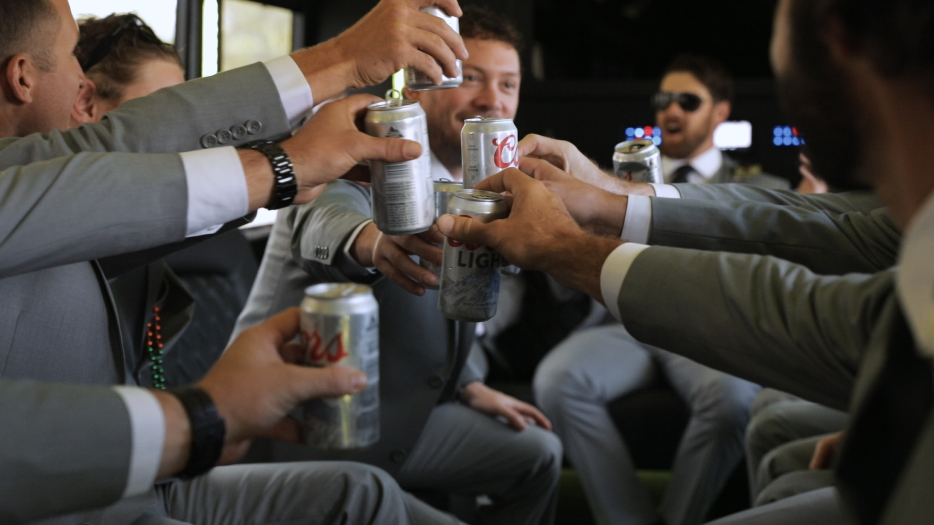 Annalisa and Anthony_New Orleans Wedding videography_groom beer cheers