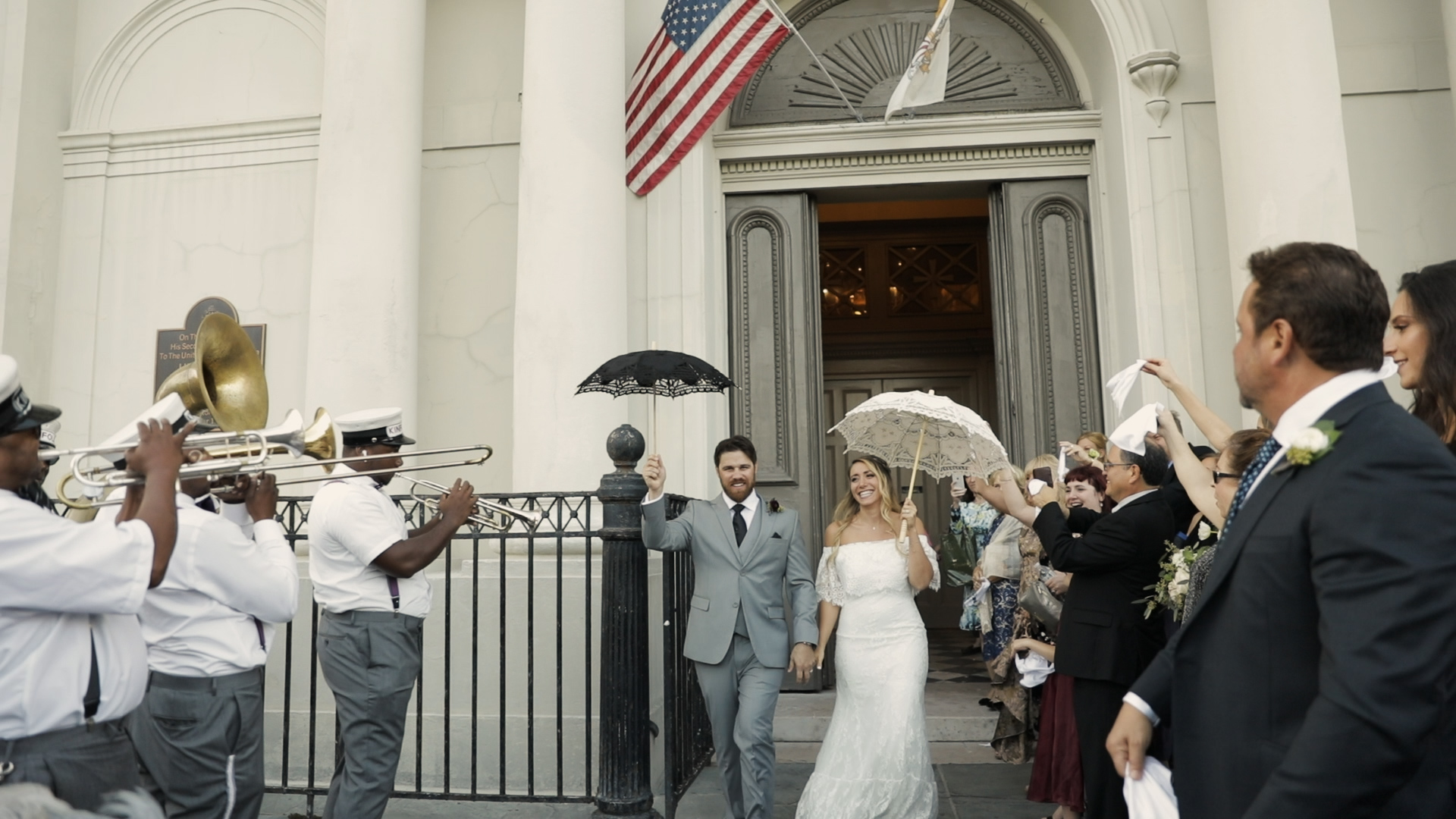Annalisa and Anthony_New Orleans Wedding videography_second line st louis cathedral