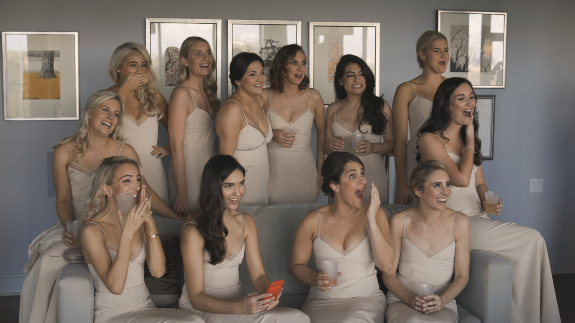 New Orleans Wedding Video_Elms Mansion_Paige and Travis_bridesmaids reactions