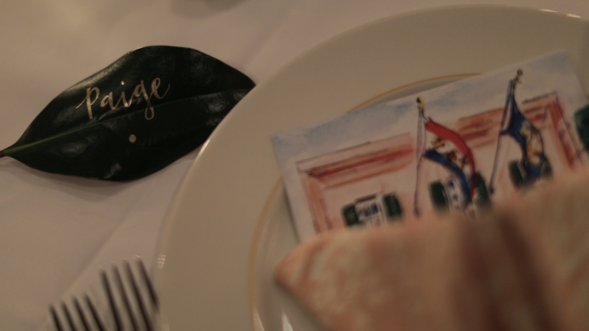 New Orleans Wedding Video_Elms Mansion_Paige and Travis_table place setting