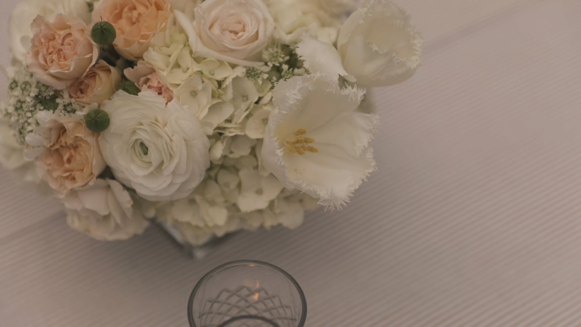 New Orleans Wedding Video_Elms Mansion_Paige and Travis_table floral decor