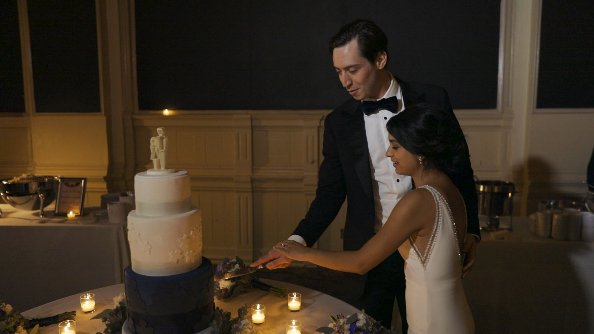 Anya and Max_New Orleans Wedding Video_Bride Film_Board of Trade reception_cake cutting